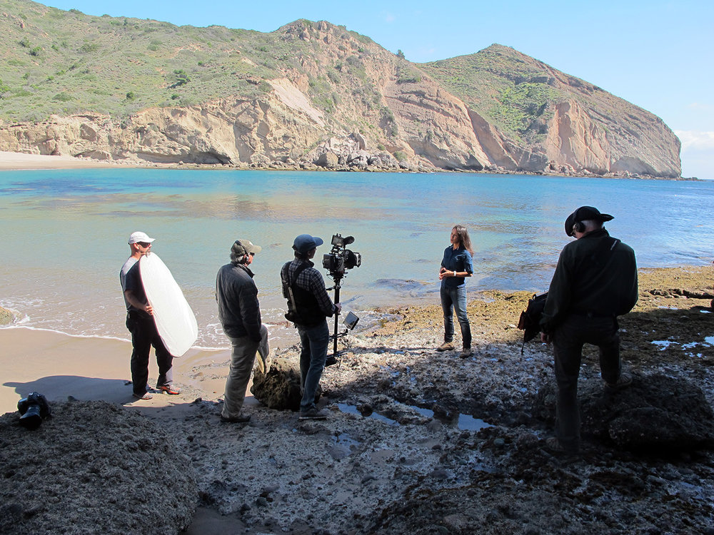 Biologist Dr. Lotus Vermeer being interviewed on Santa Cruz Island about the restoration of the Island fox and bald eagles