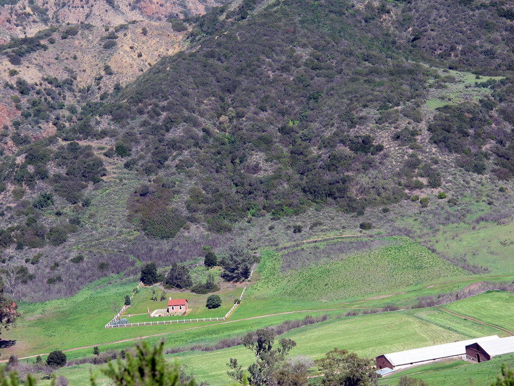 The central valley of Santa Cruz Island with the Caire family chapel built in 1891