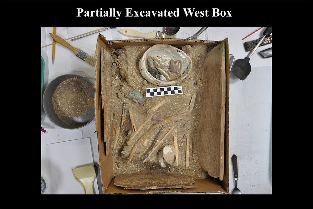 As excavation proceeded the contents of the redwood box were revealed