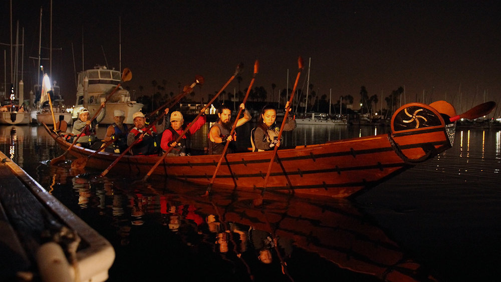 The annual tomol crossing begins at Channel Islands Harbor at 3 AM
