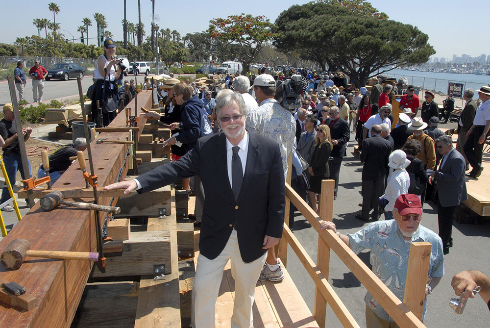 Dr. Raymond Ashley, Maritime Museum of San Diego, at the ceremonial keel laying of the <em>San Salvador</em> replica in 2011