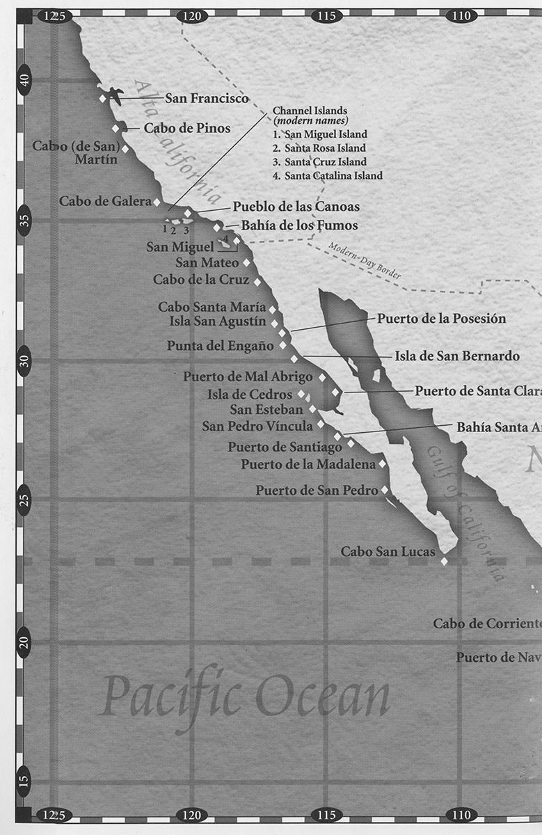 Map showing Cabrillo's 1452 voyage up the western coast of what is now California