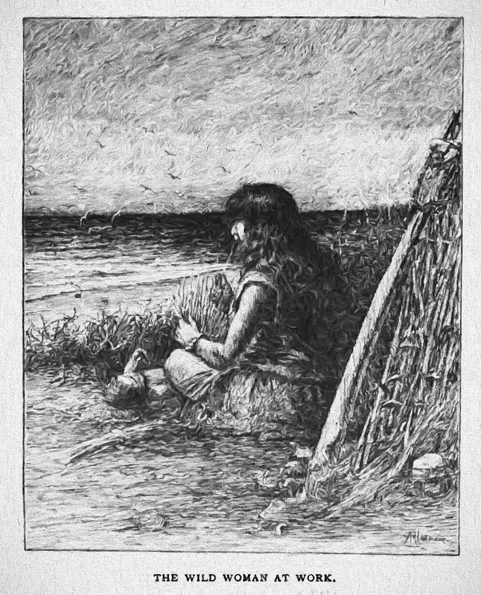 An artists rendering, done in 1893, of the Lone Woman's existence on the rugged island 60 miles at sea