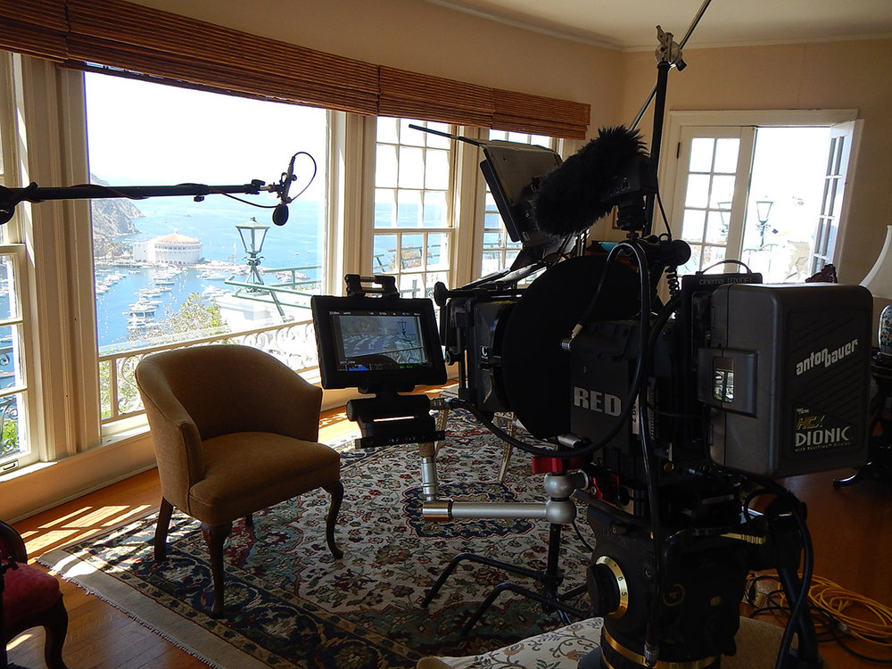 Setting up a shot for the film in what is now The Inn at Mt. Ada, William Wrigley's home with the famous casino in background