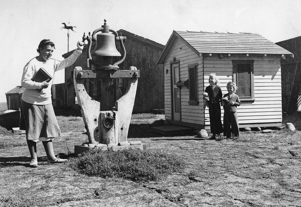 Left to right: Elizabeth Lester with Marianne and Betsy at the Island school, circa 1935