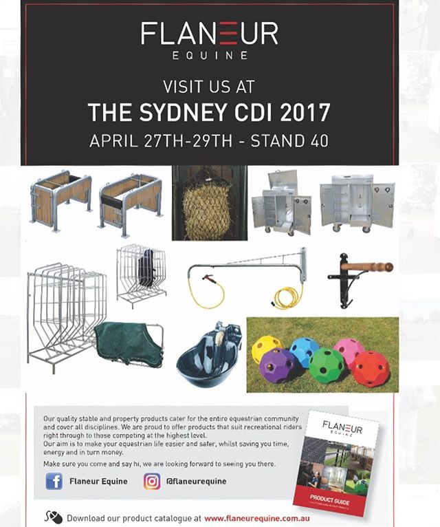 We are excited to be attending the @Sydney_cdi 2017! Make sure you come and visit us at Stand 40 to see our wonderful products all the way from Germany 🇩🇪🐴 #Sydneycdi2017 #flaneurequine #qualitystableproducts #dressageaustralia #equestrianaustralia