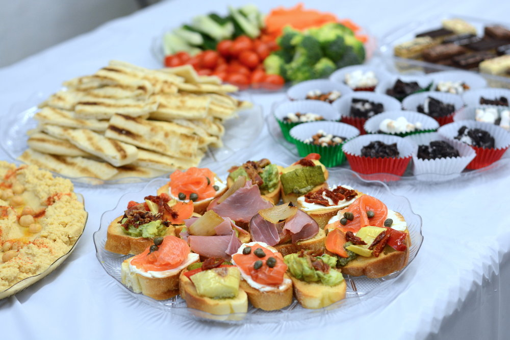 """Trio of crostinis from """"Party hors d'oeuvres, dips, and desserts"""" in NYC for $13/person"""