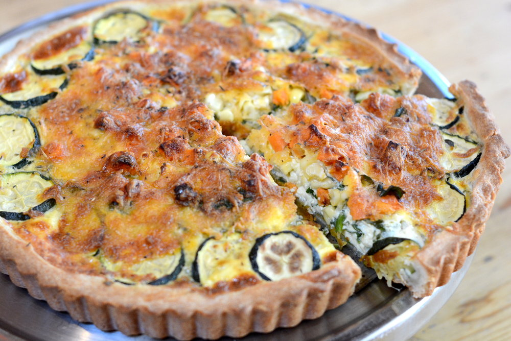 Homemade quiche for $7/person in flavors like vegetarian (Corn, Zucchini, Spinach)