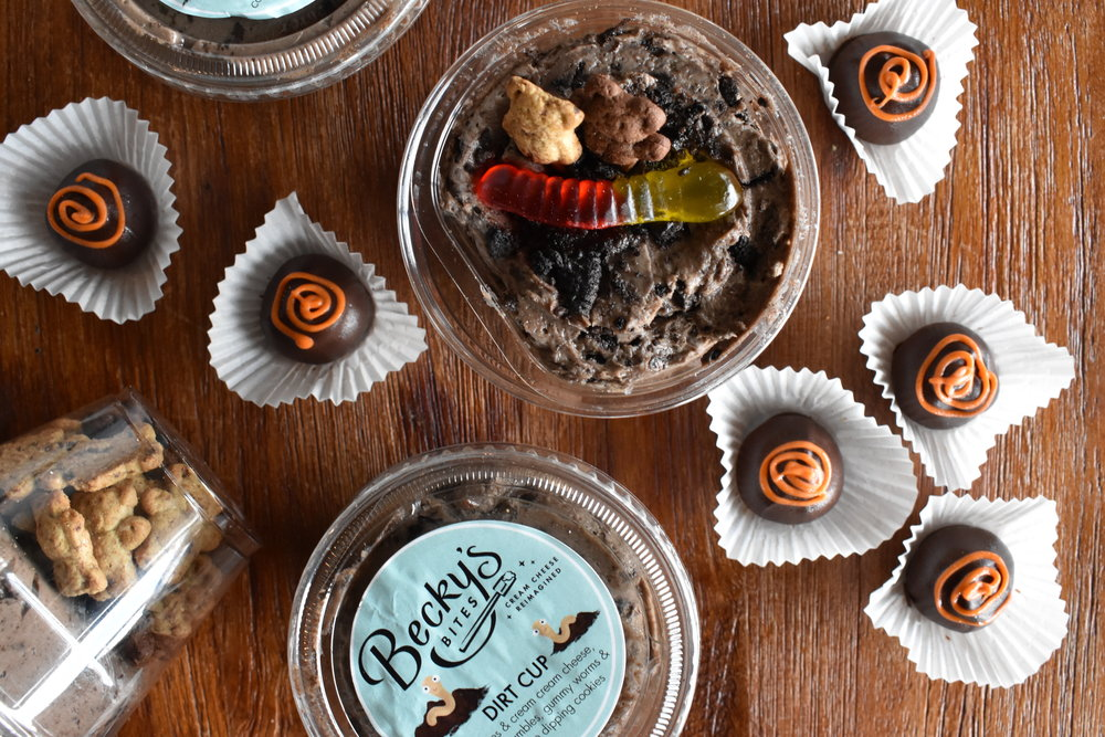 (Gummy) Worm Dirt Cups & Dark Chocolate Pumpkin Spice Bites - by Becky's Bites