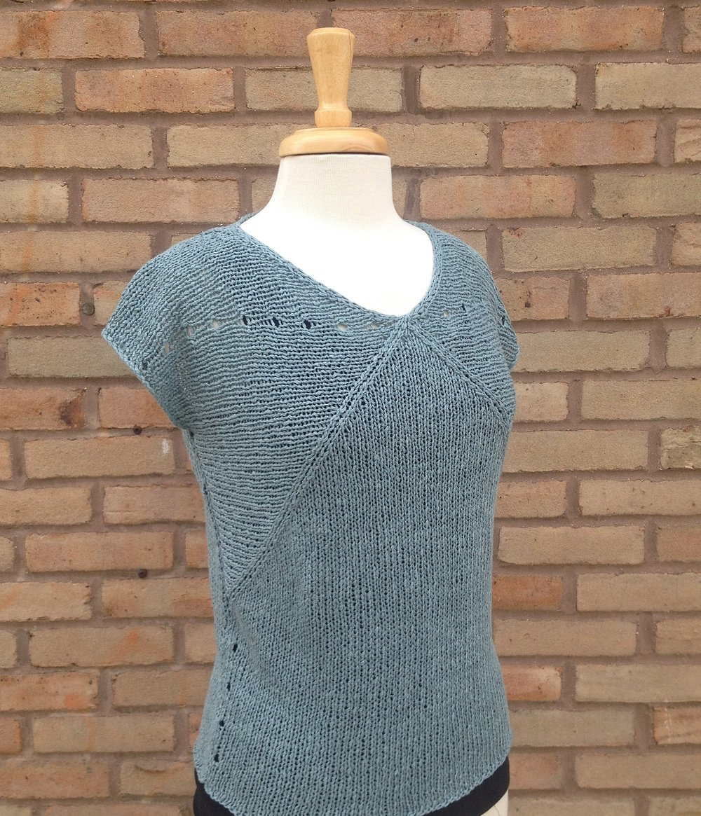 Flex Tee pattern by Heidi Kirrmaier for Quince and Co. Knit by Lynn Schense in Quince and Co Kestrel, color Aegean.