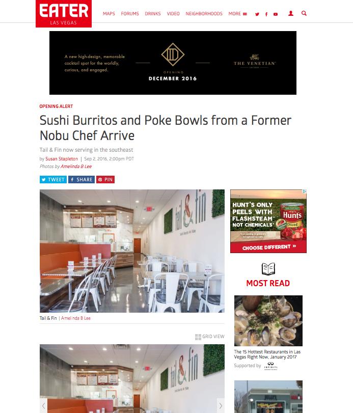 Eater Las Vegas | Sushi Burritos & Poke bowls from a Former Nobu Chef - September 2016