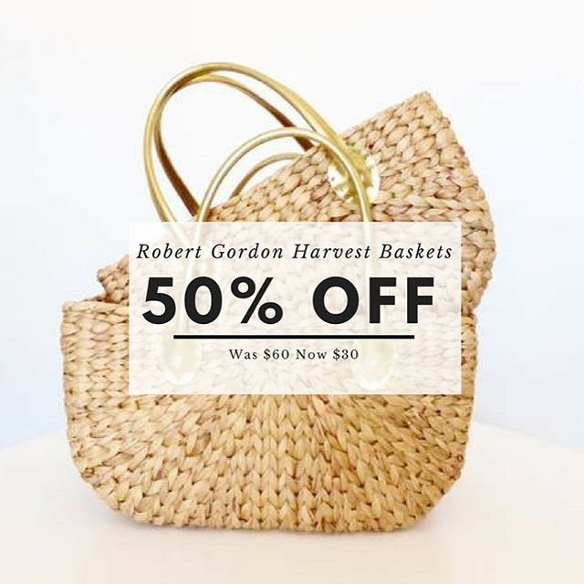 Gorgeous Robert Gordon Harvest Baskets Large with Gold Handles on sale! Was $60 now $30 get in quick as these are not available anywhere else!!! #stocktakesale #robertgordon #robertgordonaustralia #basket #baskets #sales #happyshopping #marketbaskets #harvest