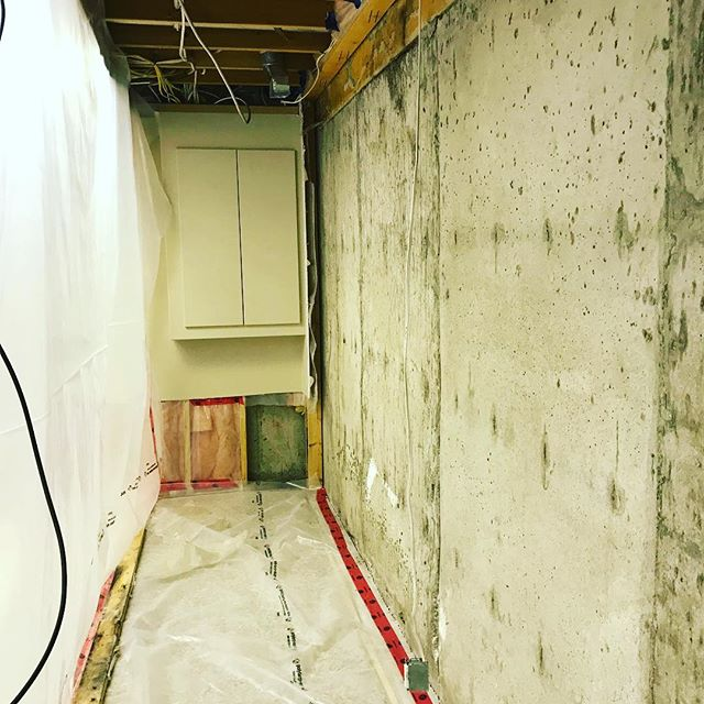 Containment done by Abris. We removed the drywall and insulation in preparation for a repair of the porous concrete foundation.