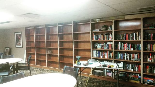 Bookshelf extension in progress by Abris Construction! Will post soon with the completed job.