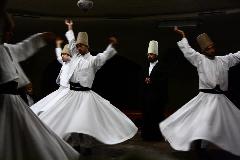 Semâ ceremony at the Dervishes Culture Center, Avanos, Turkey   by Schorle (Creative Commons)