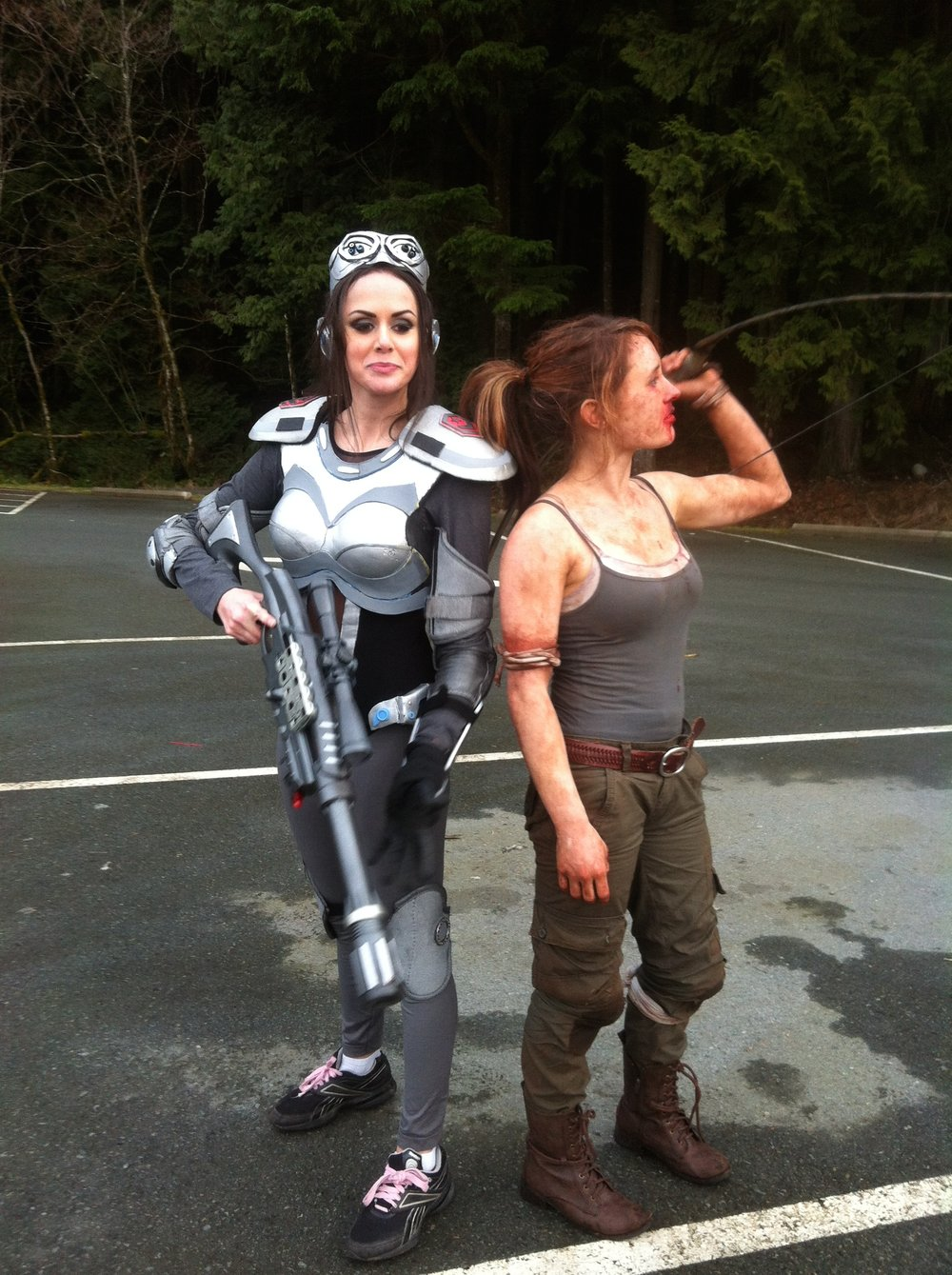 Croft   When filming Croft Cassandra Ebner ran into actress and youtuber Stacey Roy.