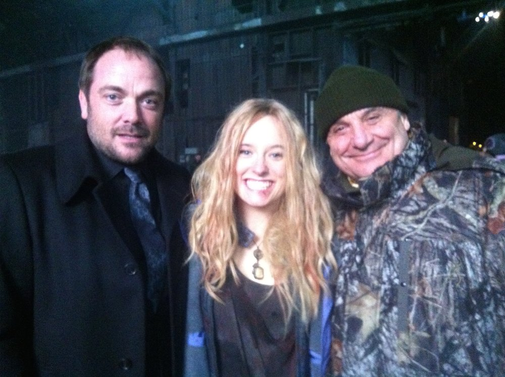 Supernatural   Cassandra Ebner doubling as Meg played by Rachel Miner. Photo with actor Mark Shepard and Stunt Coordinator Lou Bollo.