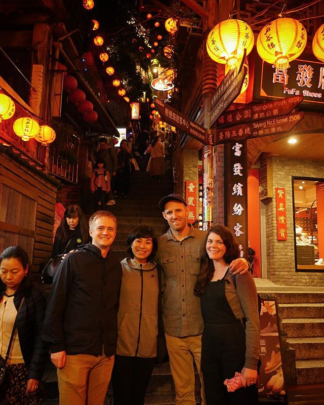 Wandering the streets of Jiufen with three of the best travel partners.