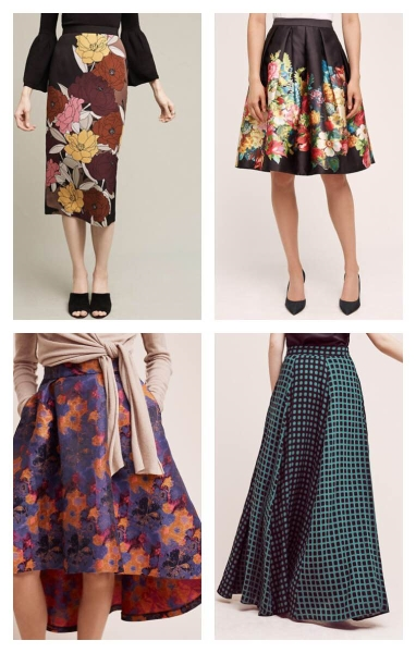 Clockwise:  Berlin Midi Skirt | Garden Party Skirt | Harvest Bloom Skirt | Pilato Maxi Skirt | PHOTOS BY  ANTHROPOLOGIE