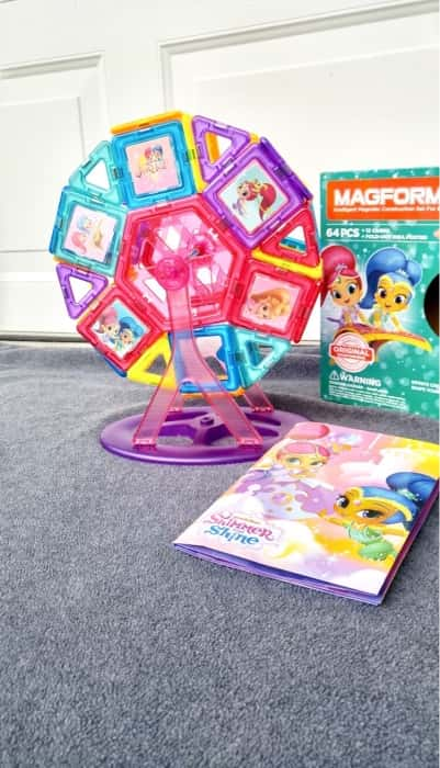 Magformers Magnetic Shimmer and Shine Carnival Set encourages problem-solving and creativity.