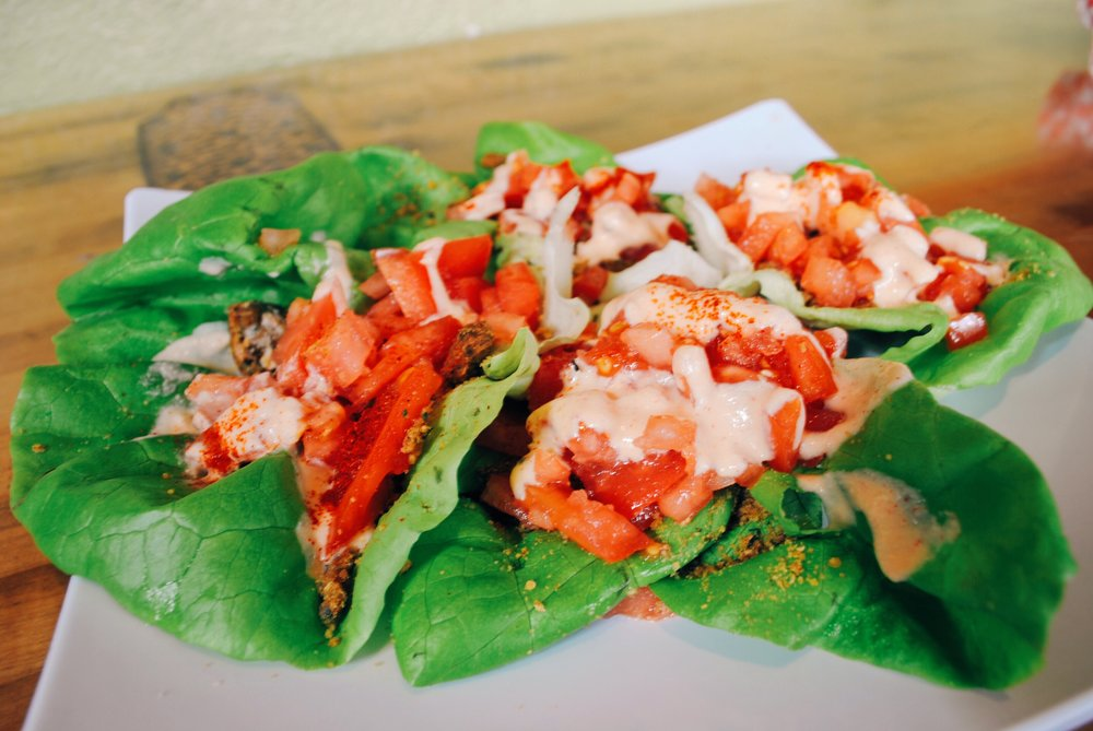 "Souley Vegan ""Butter Lettuce Cups"".  Look how pretty those colors are!"