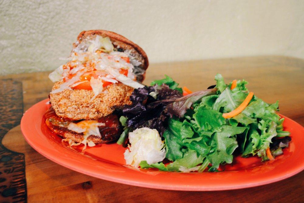 "Souley Vegan ""Southern Fried Tofu Burger"""