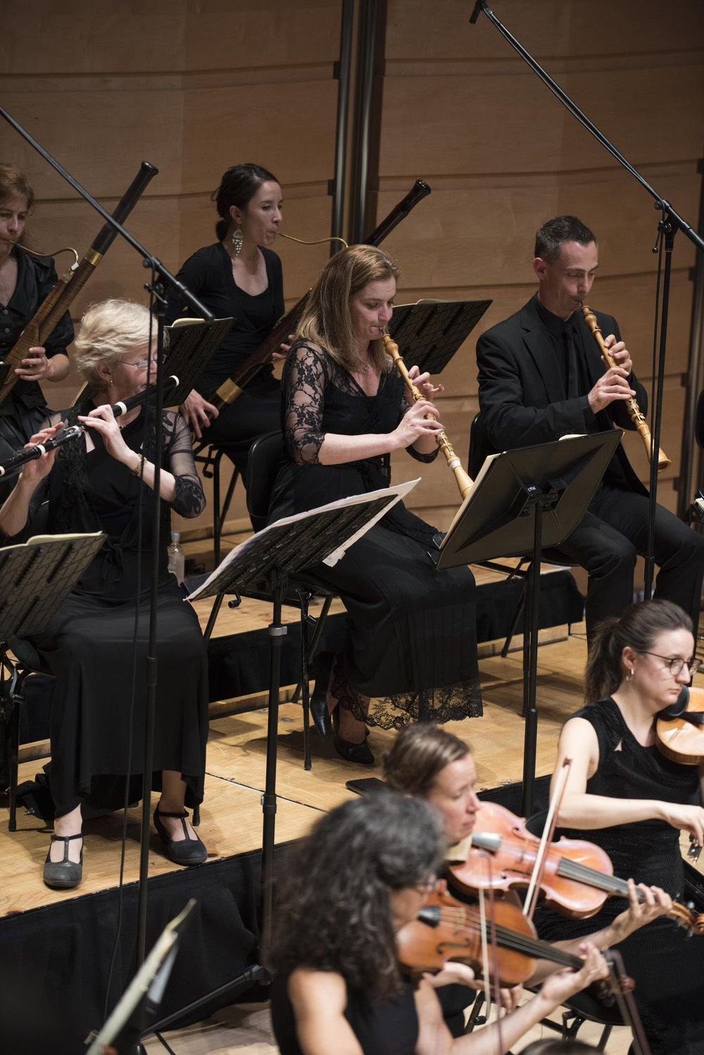 From left to right: Australian Principal Bassoon player Jane Gower from Copenhagen, Australian Principal Flute player Kate Clark from Amsterdam, Second Bassoon player Jackie Newcomb from Adelaide, Australian Principal Oboe player Emma Black from Vienna and Second Oboe player Ingo Muller from Freiburg