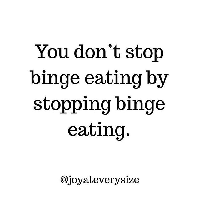 This post by @joyateverysize  is absolutely spot on and something I talk about in clinic on the reg!! Binge eating is not the problem, it is the symptom.  It is 9.9 times out of 10 a symptom of either restriction or shame.  Shame about the way you look, or what you may have eaten that wasn't 'on the plan' or restricting certain foods or quantities of food is a sure fire way to set you up for a binge.  If you want to stop binge eating, you need to address the part of the cycle that leads to the binge. Trying to stop binge eating by creating more rules and restriction around food or following 'fitspo' accounts to give you inspiration for what you 'think' you should look like only sets you up to do the binge all over again.  This is something I LOVE working with in clinic so if you struggle with binge eating hit me up in my DMs 💛