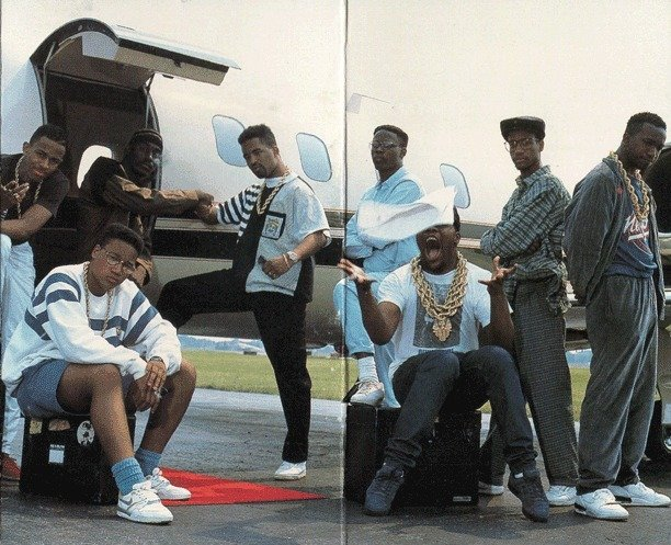 The Juice Crew on the back of  In Control Vol. 1 . From left to right standing: MC Shan, Big Daddy Kane, Marley Marl, DJ Polo, Masta Ace and Kool G Rap. Seated: Craig G and Biz Markie.   Courtesy of Cold Chillin' Records/Strictly Cassettes