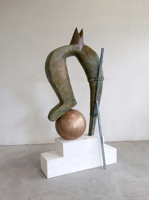 Dropping the Ball by Camille Henrot, bronze, iron and copper Sculpture , Image Source: www.artbasel.com