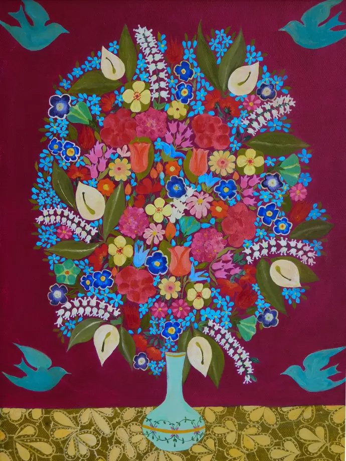 Hepzibah Swinford: Flowers with Birds, 2017