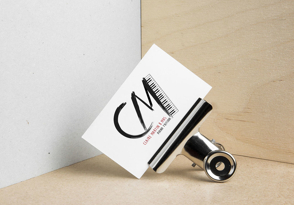Business card & logo design for Claire Martin Piano Tuition