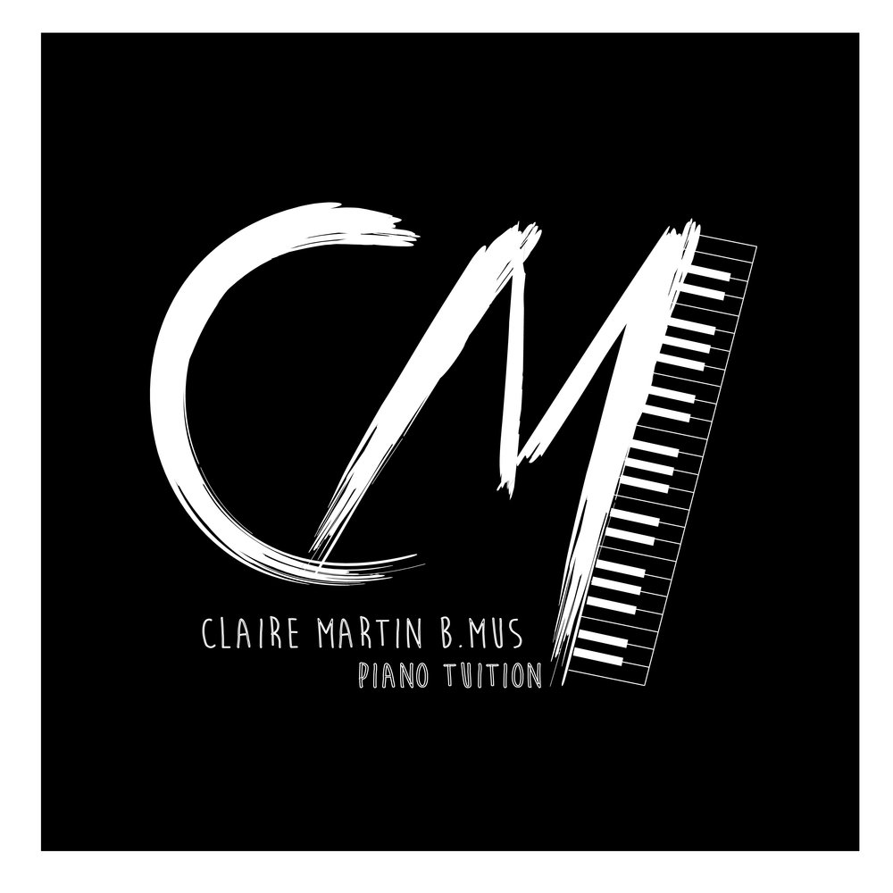 Black and white logo design for Claire Martin Piano Tuition