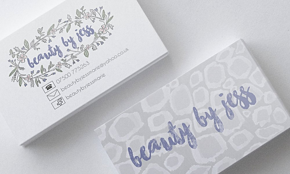 Business card, logo design and visual branding for Beauty By Jess