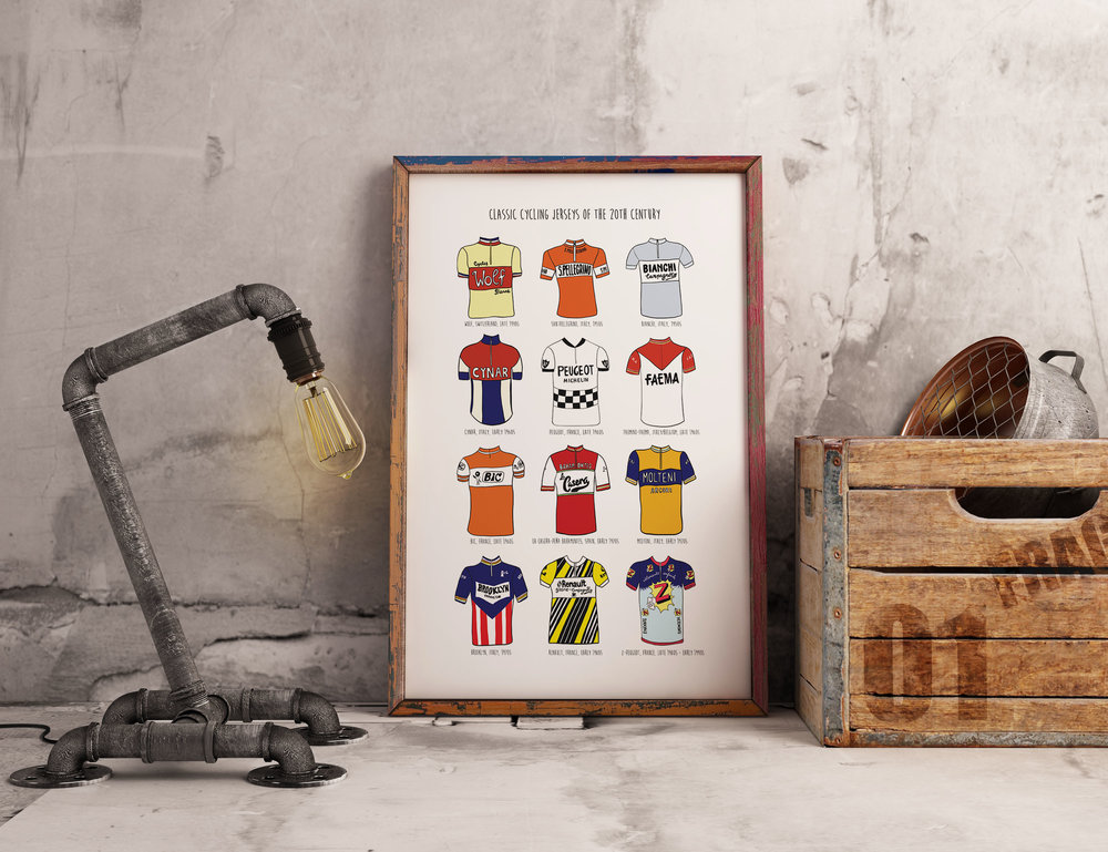 """Classic Cycling Jerseys of the Twentieth Century"" print"