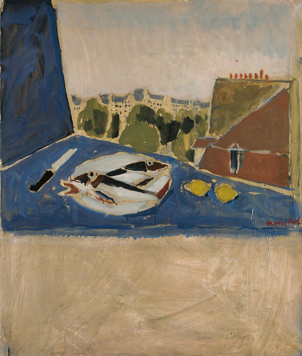 Ausblick aus Pariser Wohnung mit Stillleben. Öl auf Leinwand. 101 x 85cm