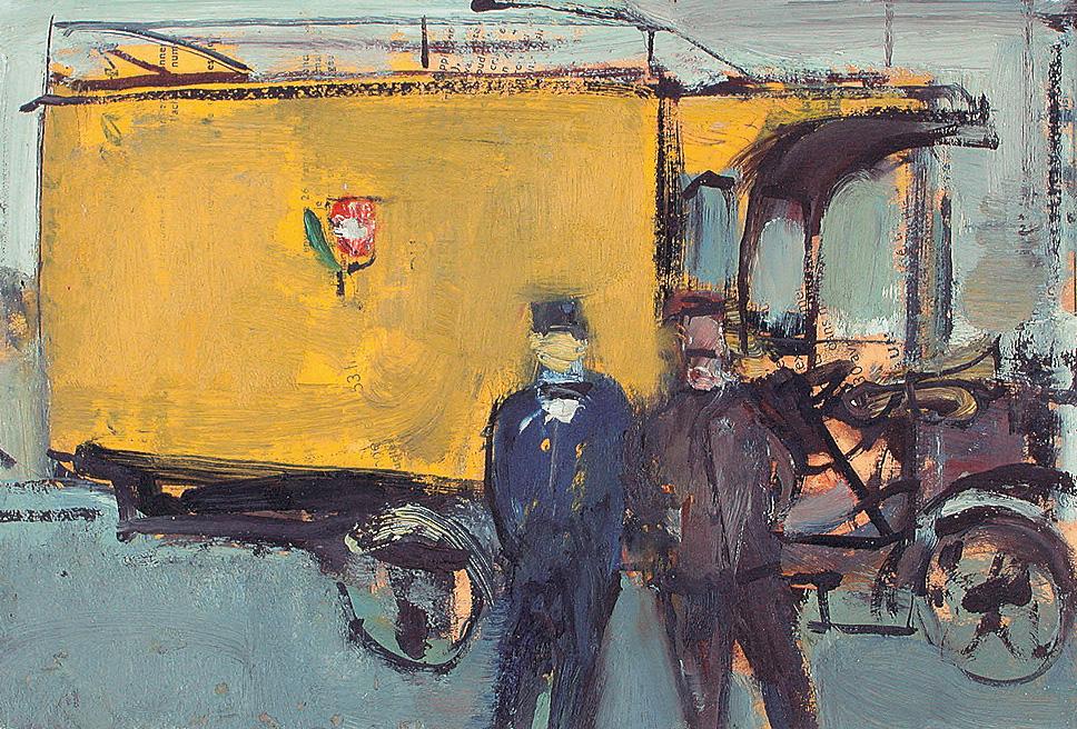 Postwagen, 1945. Öl auf Pavatex. 18 x 27cm