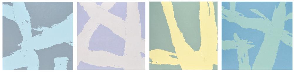 Progr. Serie aus 4 Gemälden, acryl auf Baumwolle. Jeweils 140 x 140cm