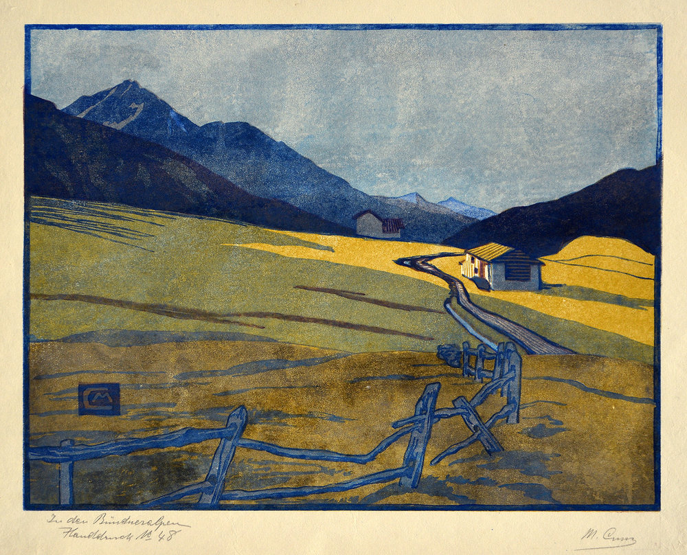 In den Bündneralpen, 1914. Farbholzschnitt