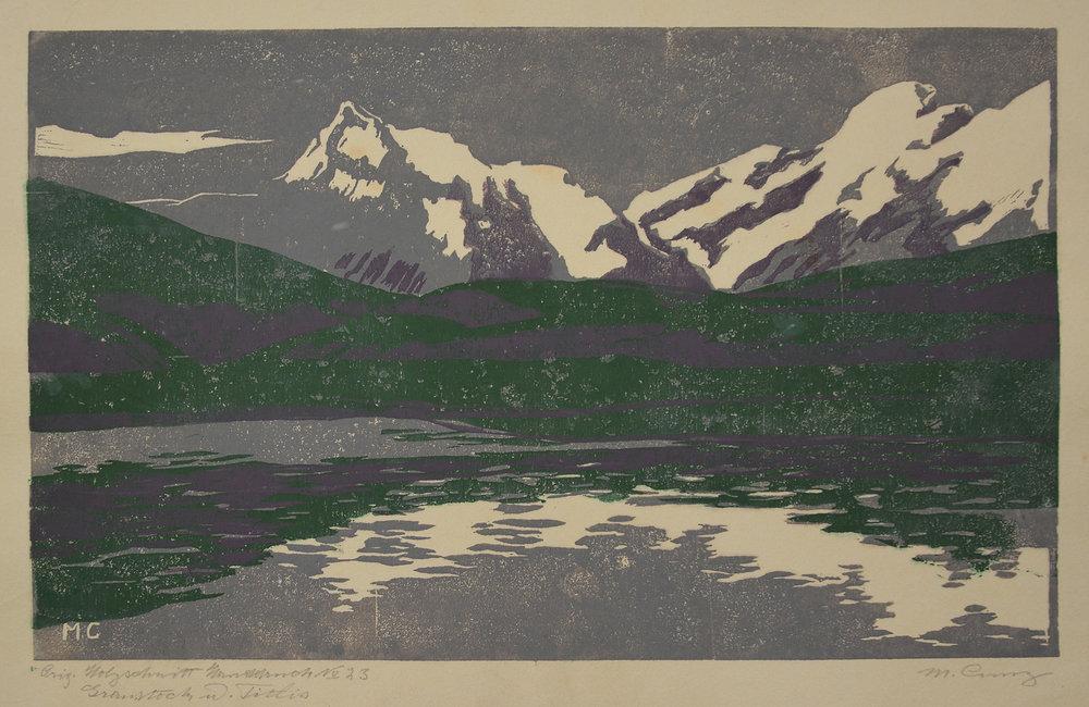 Graustock und Titlis, 1904. Farbholzschnitt. BG 30 x 47cm