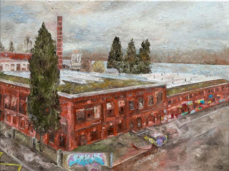 Die rote Fabrik, 2017. Öl auf Leinwand. 60 x 80