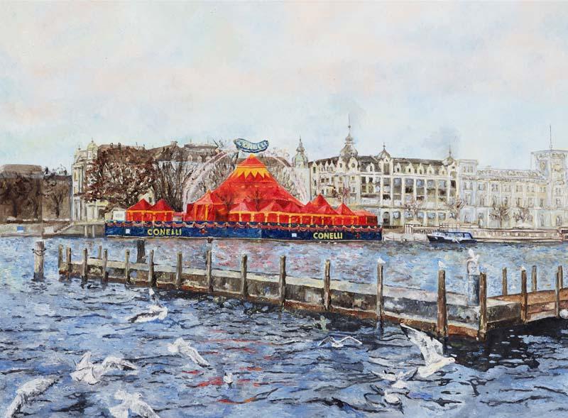 Das Bauschänzli mit Zirkus Conelli, 2016. Öl auf Leinwand. 110 x 150