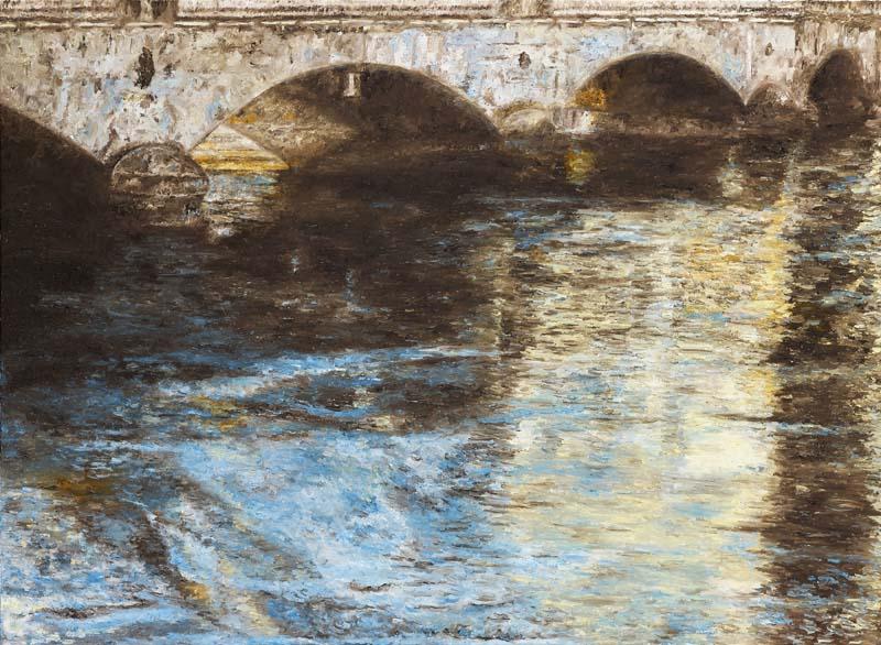 Die Helmhausbrücke, 2017. Öl auf Leinwand. 80 x 150