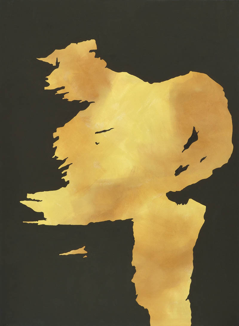 Gegenwind Colmar, links oben auf Etikette bezeichnet. Beige auf Schwarz. Acryl auf Baumwolle. 125 x 170