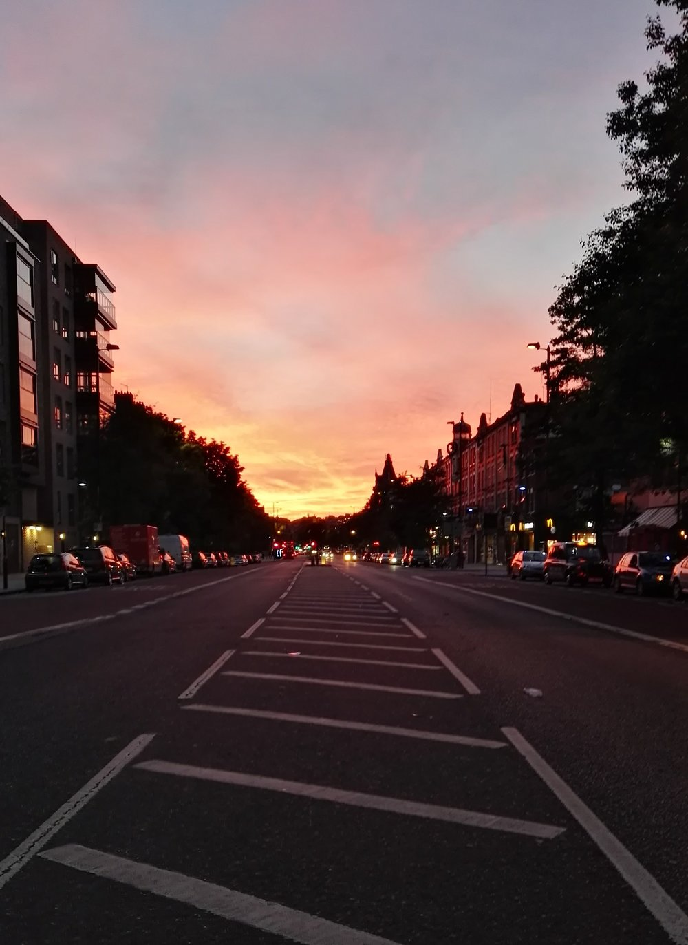 Serene sunset down Holloway Road. All was well that evening at last.