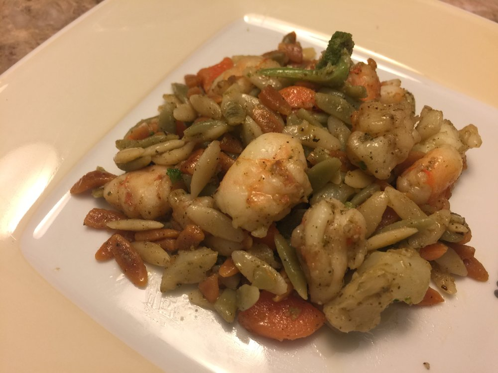 amazing Rosemary Shrimp & Rainbow Orzo Pasta