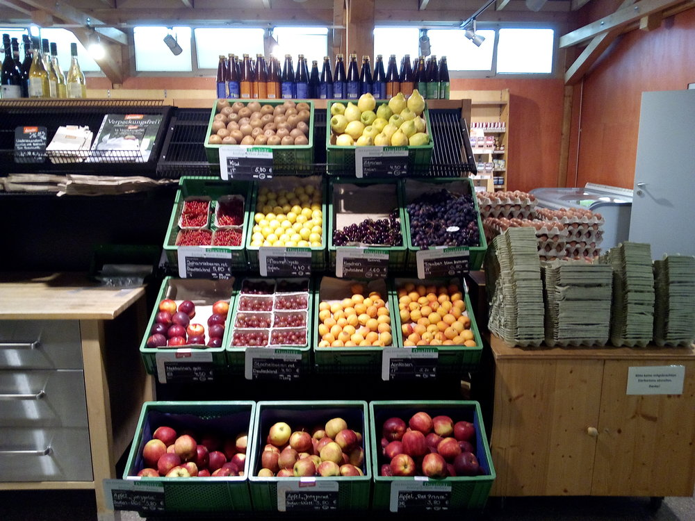 Fruit and eggs in the organic farm shop.