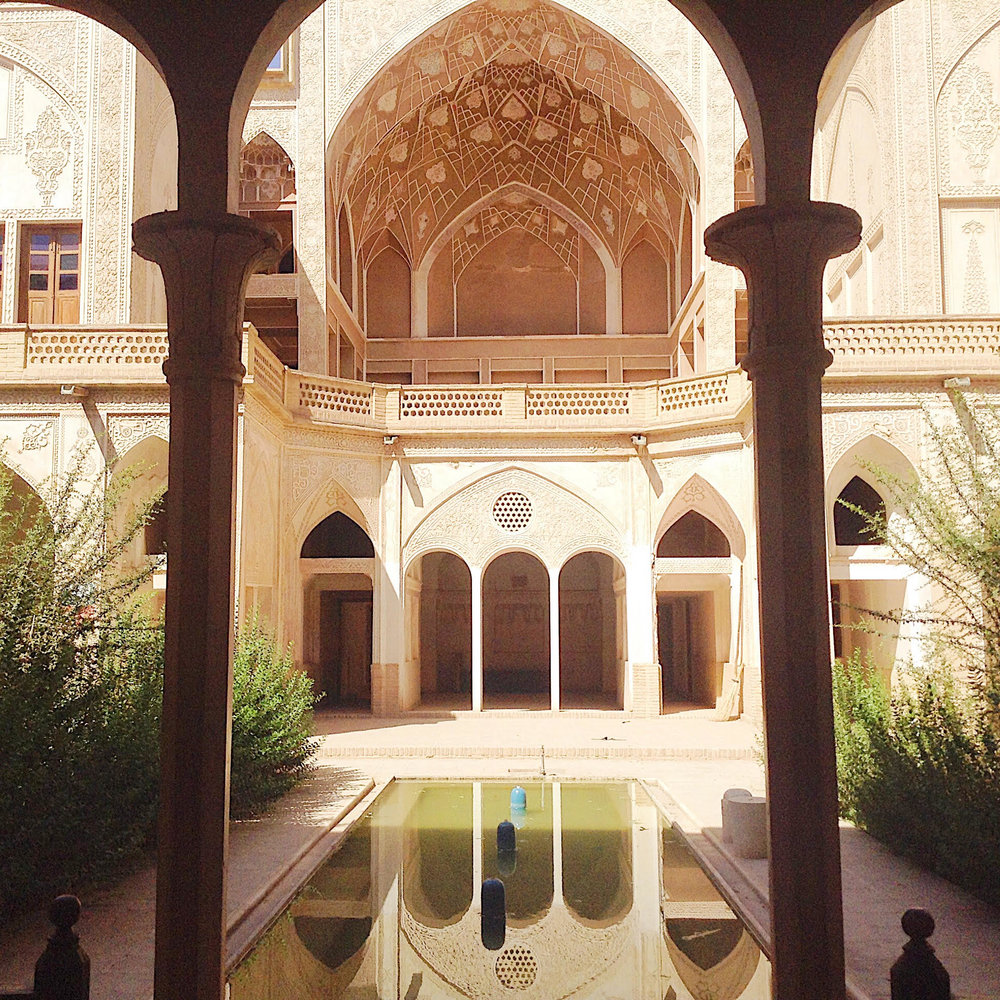 One of the famous buildings in Kashan, but I don't remember which one - also my Lonely Planet got stolen at Barandaz Lodge and that was were I made a cross at every place where we stayed, ate, visited...so that loss made me very sad.