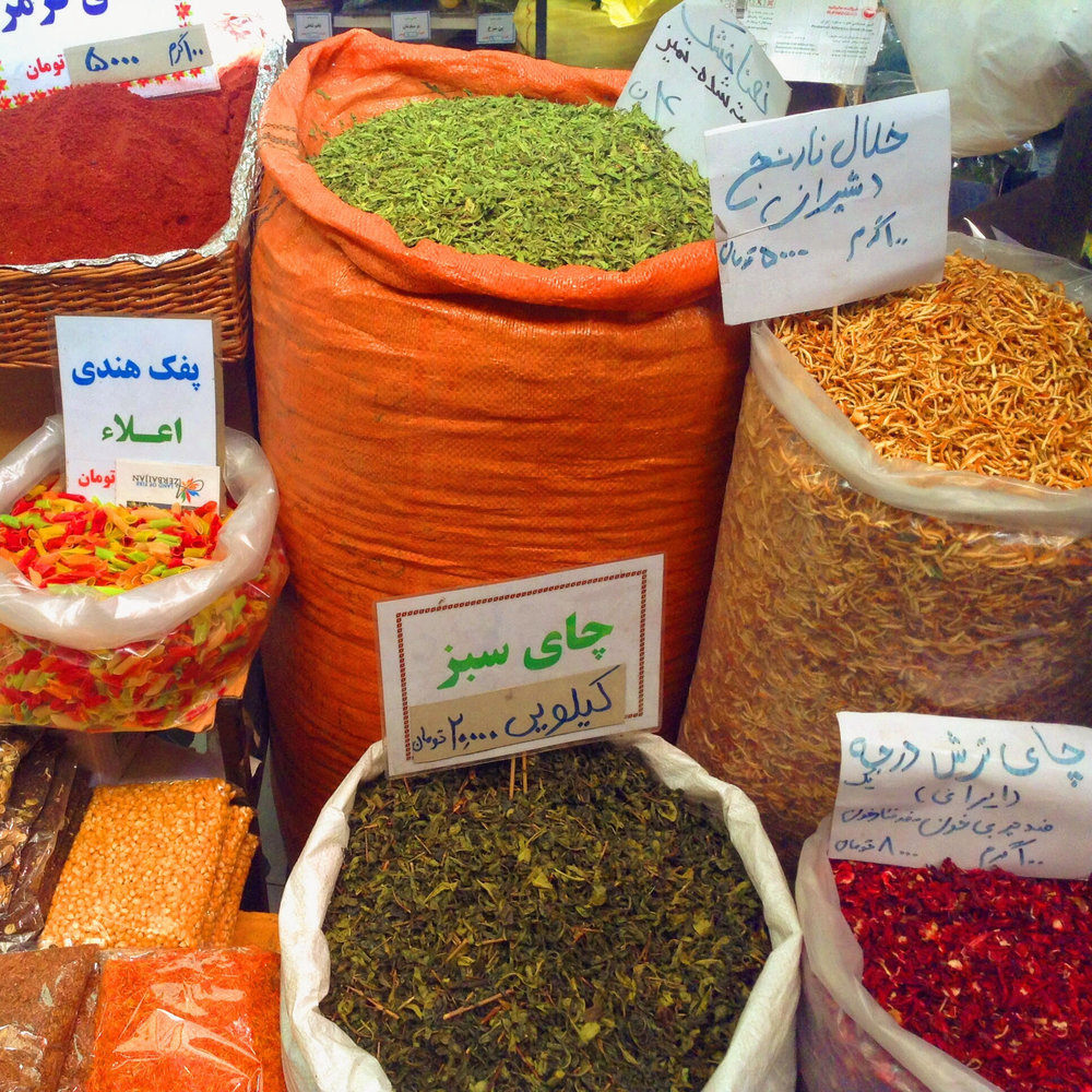 Spices at the bazar in Northern Tehran, Tajrish Bazar. From there we drove up even further to Damavand.