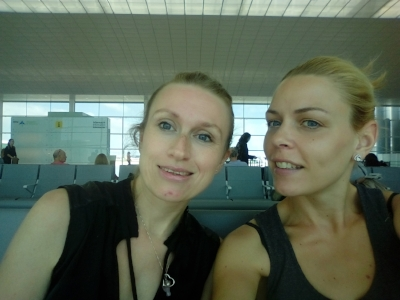 Me and Ejlaa waiting to board our flights to Frankfurt and Munich